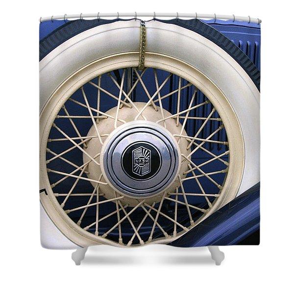Vintage Nash Tire Shower Curtain by Kay Novy