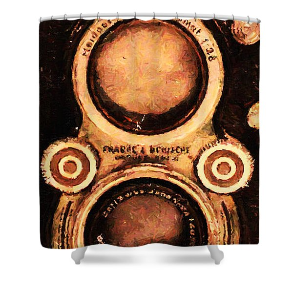 Vintage Rolleiflex Camera . Long Cut . 7D13357 Shower Curtain by Wingsdomain Art and Photography
