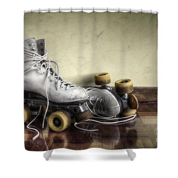 Vintage roller skates  Shower Curtain by Carlos Caetano