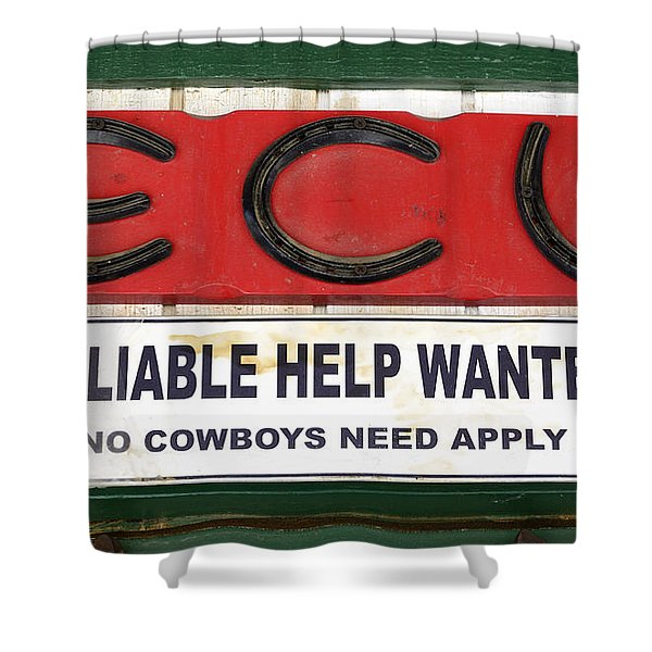 Vintage Sign For Cowboys Shower Curtain by Bob Christopher
