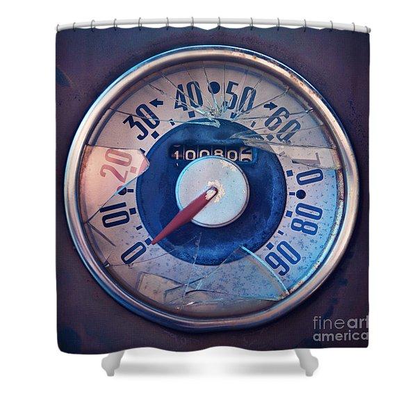 Vintage Speed Indicator Shower Curtain by Priska Wettstein