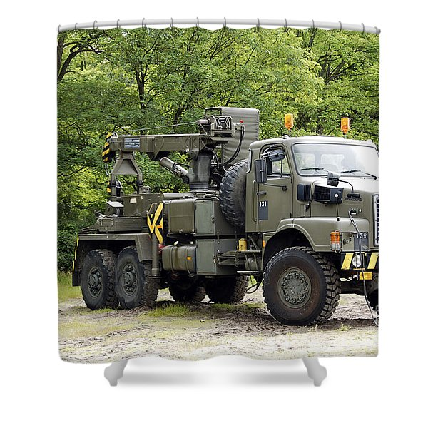 Volvo N10 Truck Crane Of The Belgian Shower Curtain by Luc De Jaeger
