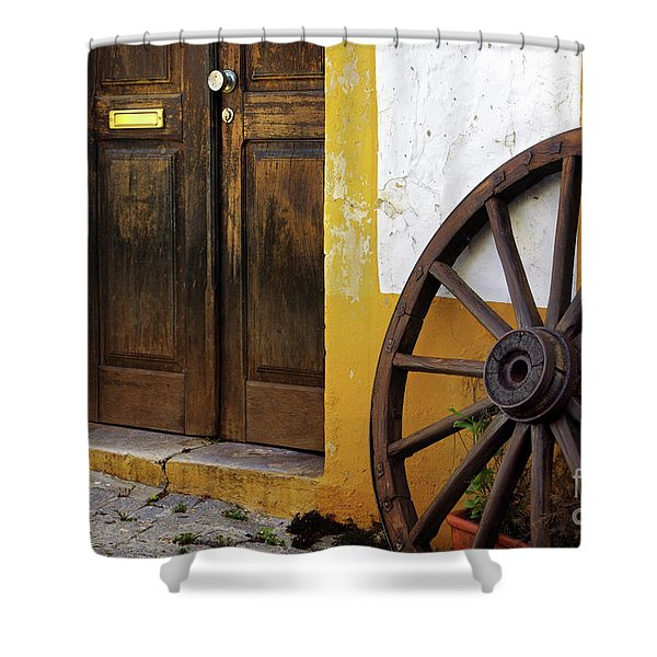 Wagon Wheel Shower Curtain by Carlos Caetano
