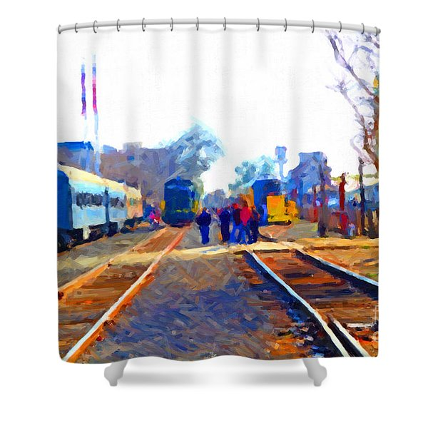 Walking On The Train Tracks In Old Sacramento California . Painterly Shower Curtain by Wingsdomain Art and Photography