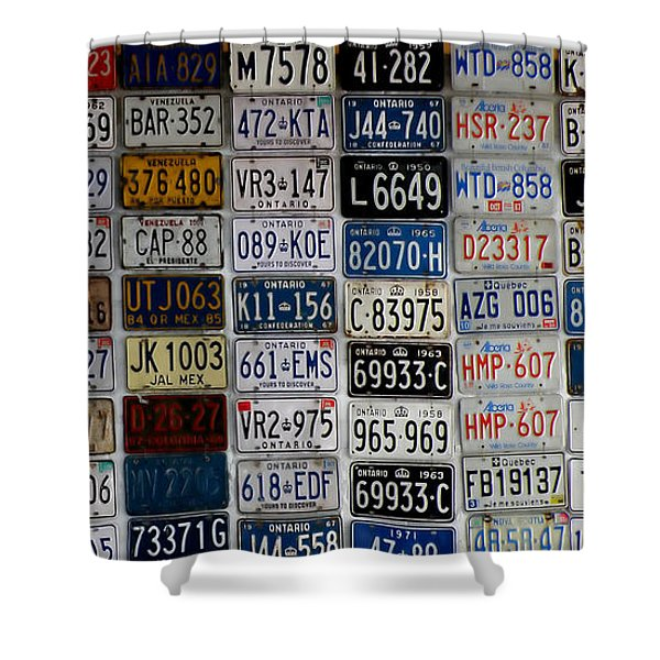 Wall Of License Plates Shower Curtain by Andrew Fare
