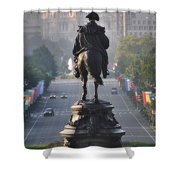 Washington Looking down the parkway - Philadelphia Shower Curtain by Bill Cannon
