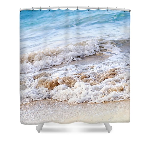 Waves Breaking On Tropical Shore Shower Curtain by Elena Elisseeva