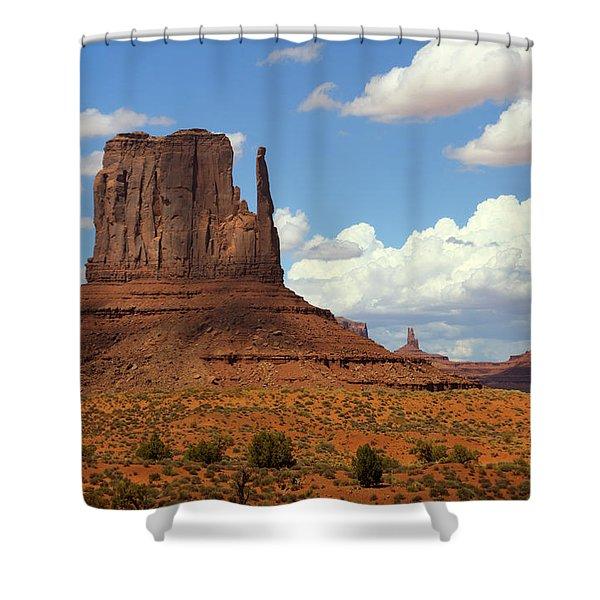 West Mitten Butte Shower Curtain by Saija  Lehtonen