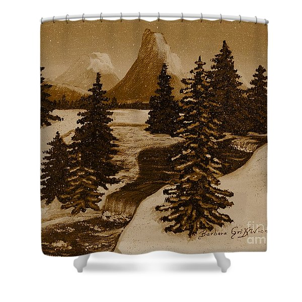 When It Snowed In The Mountains Shower Curtain by Barbara Griffin