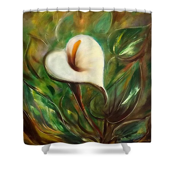 Shower Curtains - White Flower Shower Curtain by Gina De Gorna