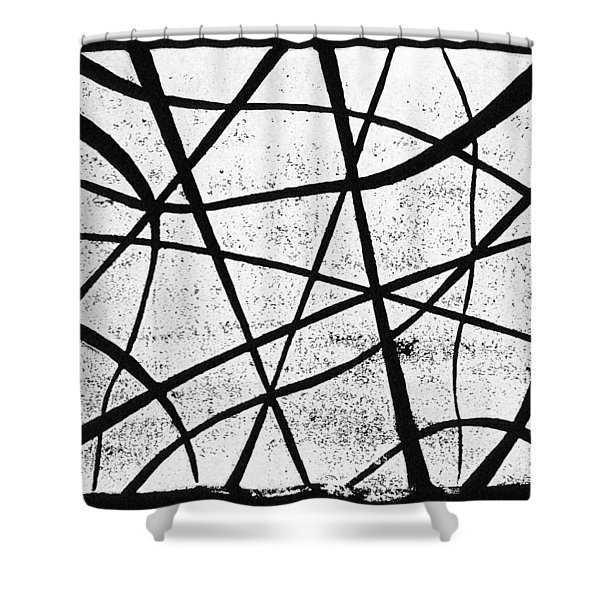 White on Black Shower Curtain by Hakon Soreide