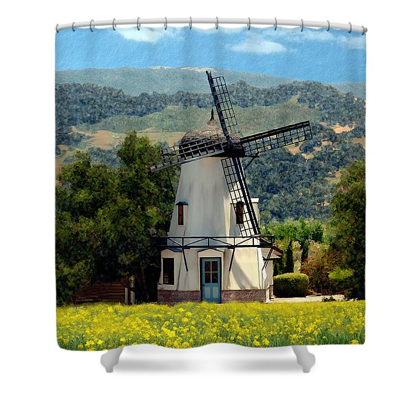 Windmill At Mission Meadows Solvang Shower Curtain by Kurt Van Wagner