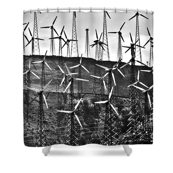 Windmills by Tehachapi  Shower Curtain by Susanne Van Hulst