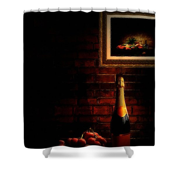 Wine and Grape Shower Curtain by Lourry Legarde