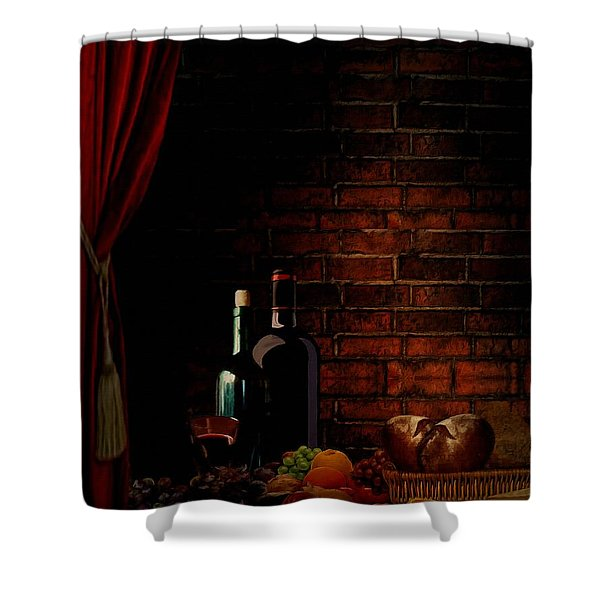 Wine Lifestyle Shower Curtain by Lourry Legarde