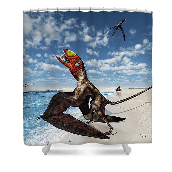 Winged Dimorphodon Pluck Fish Shower Curtain by Walter Myers
