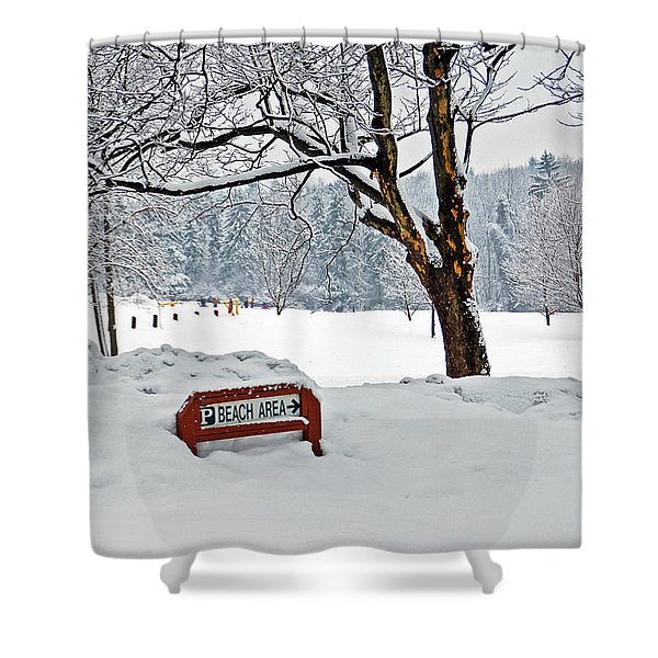 Winter Beach Sign Shower Curtain by Aimee L Maher Photography and Art