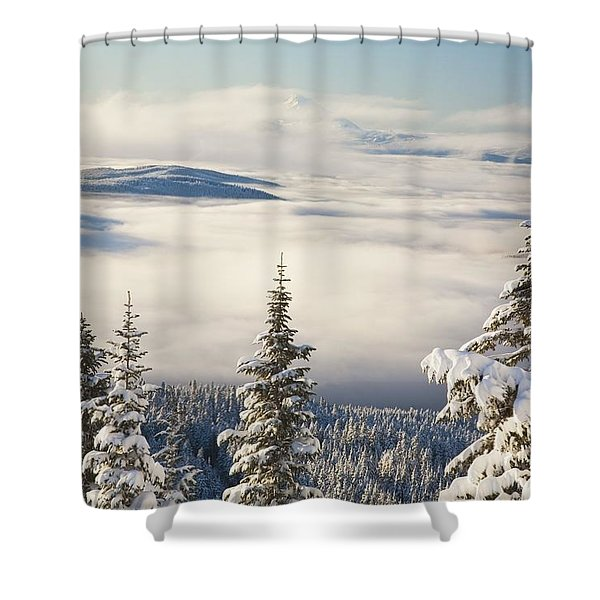 Winter Landscape With Clouds And Shower Curtain by Craig Tuttle