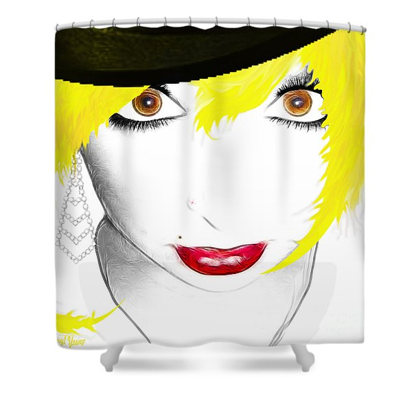 Woman 13-2 cropped square Shower Curtain by Cheryl Young