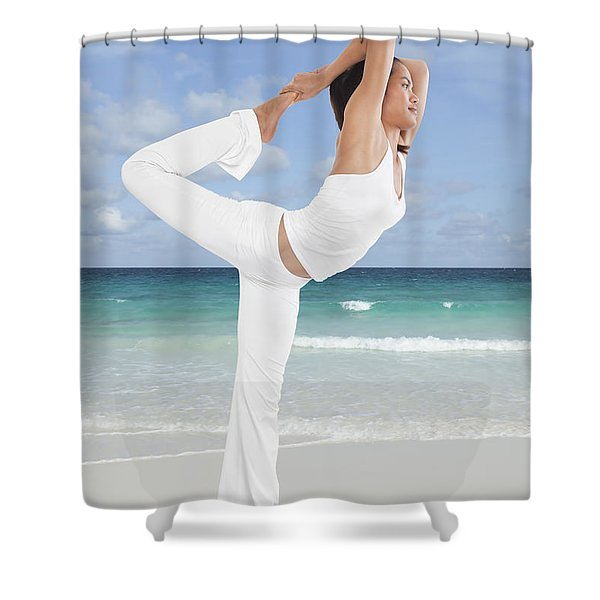 Woman doing yoga on the beach Shower Curtain by Setsiri Silapasuwanchai