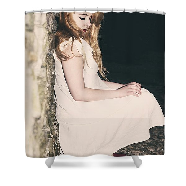 woman in an alley Shower Curtain by Joana Kruse