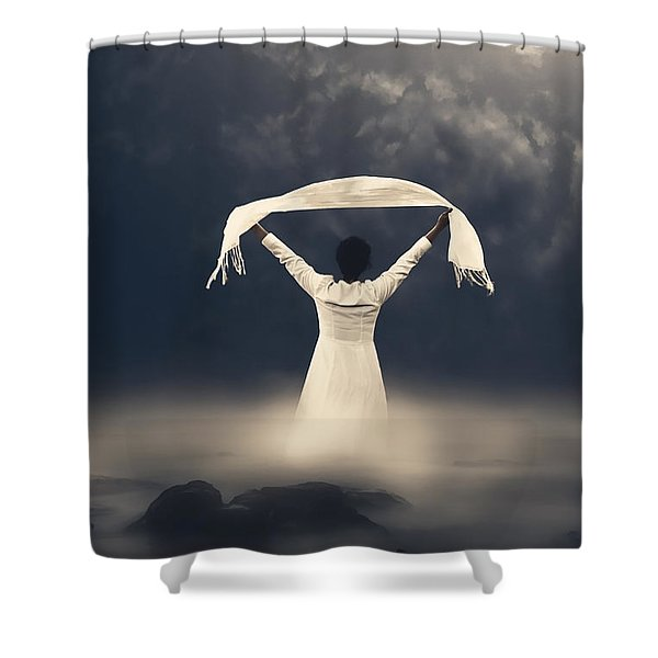 woman in water Shower Curtain by Joana Kruse
