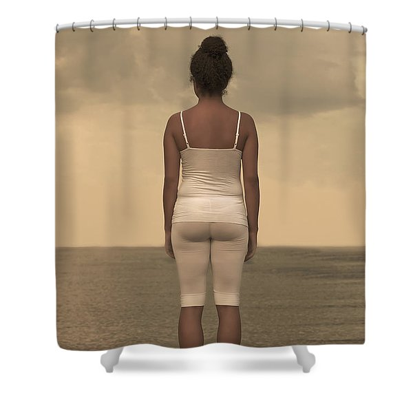 Woman On The Beach Shower Curtain by Joana Kruse