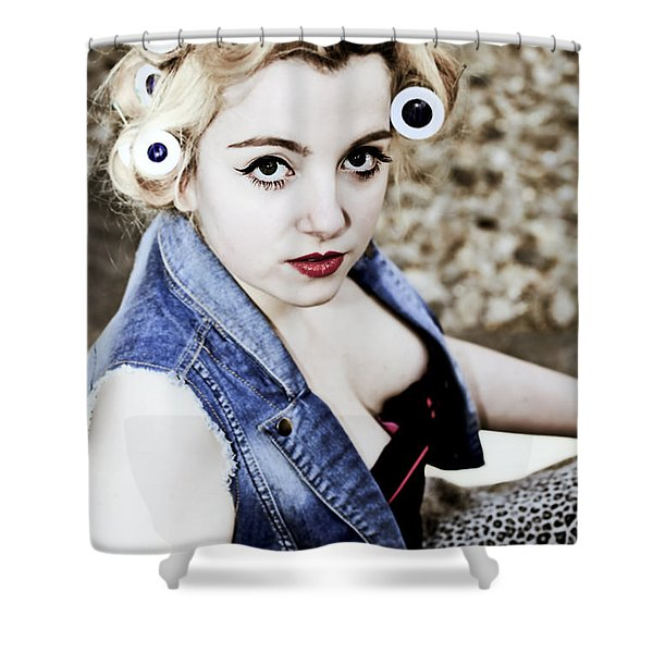 Woman With Curlers Shower Curtain by Joana Kruse