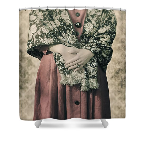 woman with shawl Shower Curtain by Joana Kruse