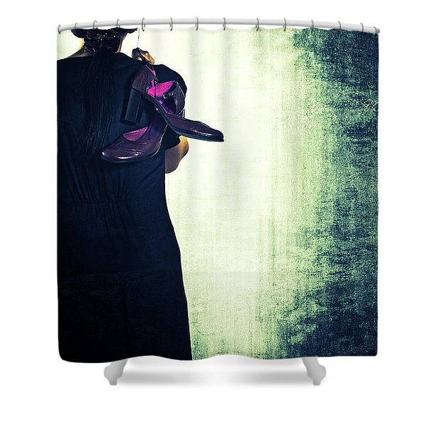 woman with shoes Shower Curtain by Joana Kruse