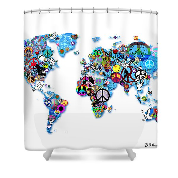 World Peace Shower Curtain by Bill Cannon
