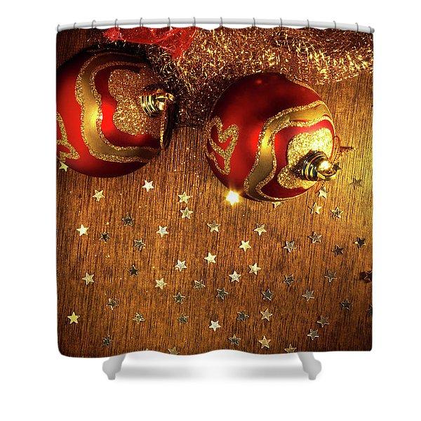 Xmas Balls Shower Curtain by Carlos Caetano