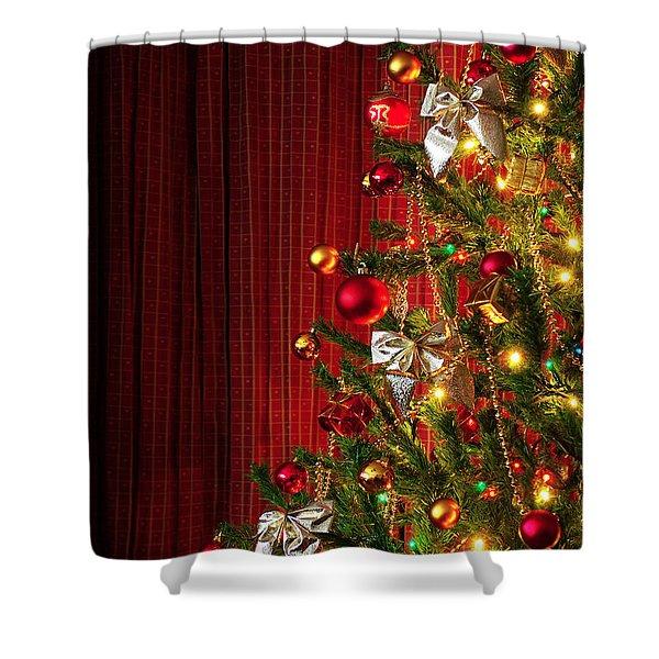 Xmas tree on red Shower Curtain by Carlos Caetano