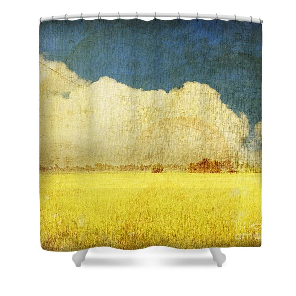 Yellow field Shower Curtain by Setsiri Silapasuwanchai