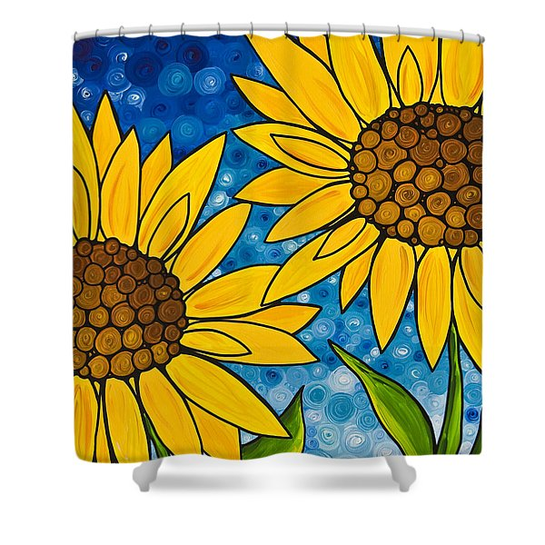 Yellow Sunflowers Shower Curtain by Sharon Cummings
