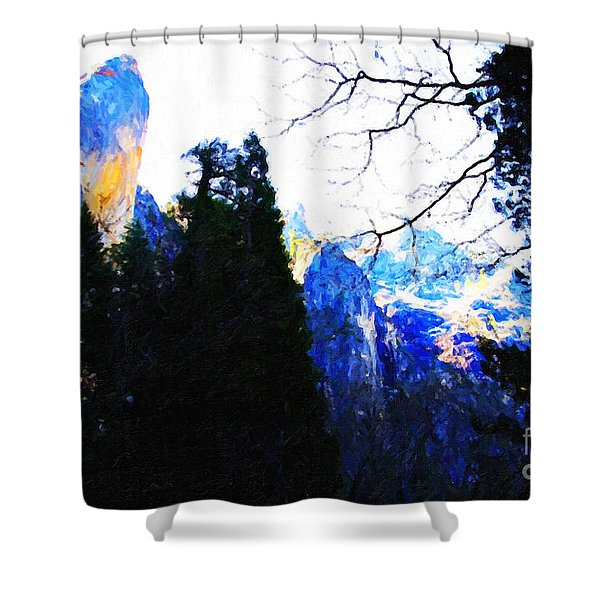 Yosemite Snow Top Mountains Shower Curtain by Wingsdomain Art and Photography