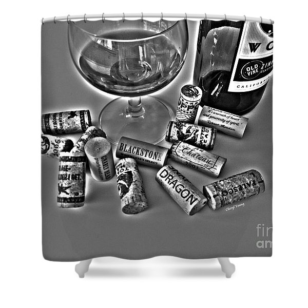 Zin Black And White Shower Curtain by Cheryl Young