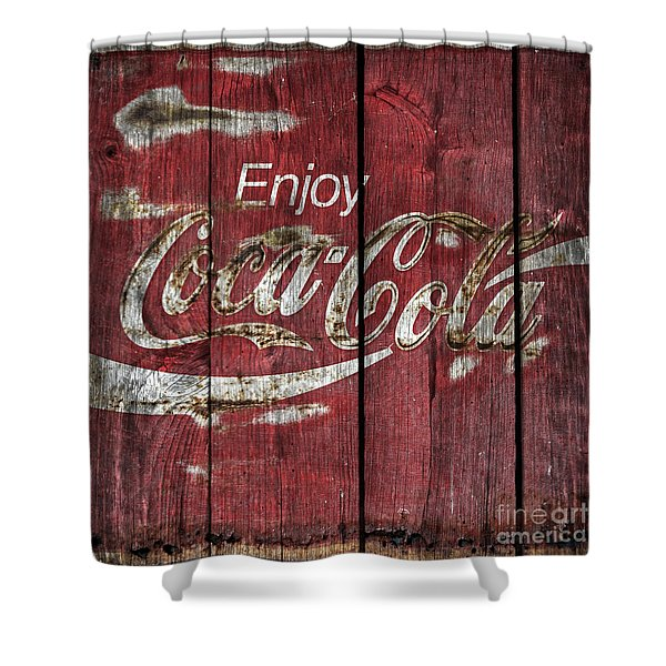 Coca Cola Sign Barn Wood Shower Curtain by John Stephens