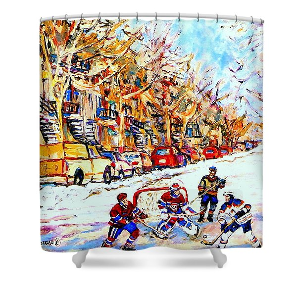 HOCKEY GAME ON COLONIAL STREET  NEAR ROY MONTREAL CITY SCENE Shower Curtain by CAROLE SPANDAU