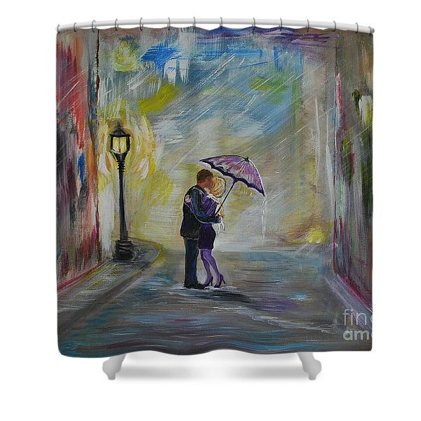 Kiss Me Taxi is Here Shower Curtain by Leslie Allen