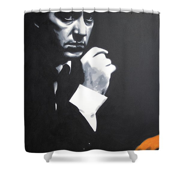 - The Godfather - Shower Curtain by Luis Ludzska