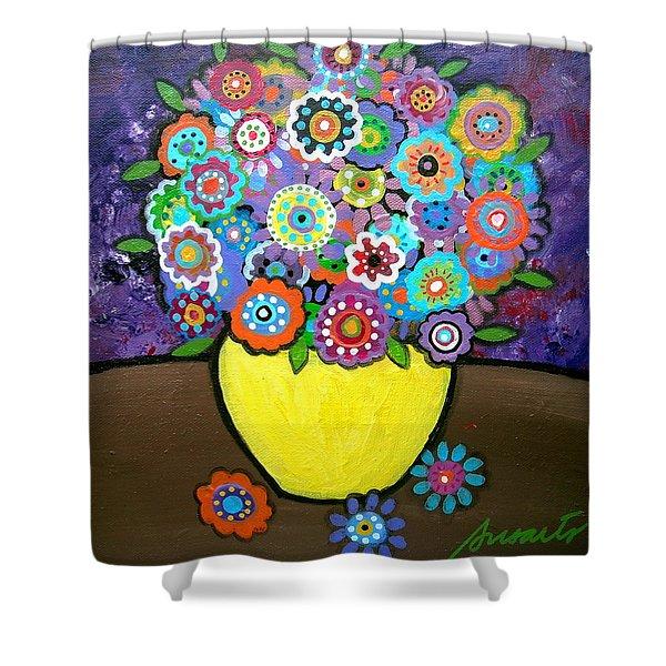Blooms 6 Shower Curtain by Pristine Cartera Turkus