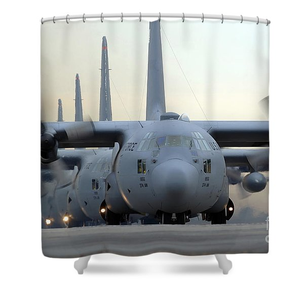 C-130 Hercules Aircraft Taxi Shower Curtain by Stocktrek Images