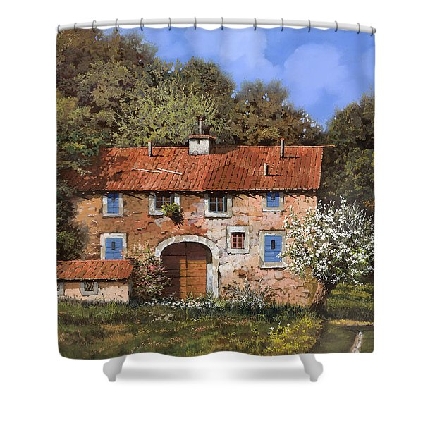 casolare a primavera Shower Curtain by Guido Borelli