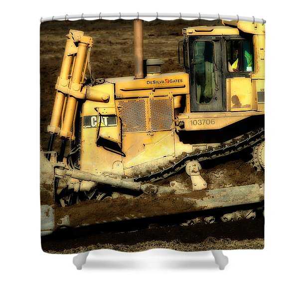 CAT Bulldozer . 7D10945 Shower Curtain by Wingsdomain Art and Photography