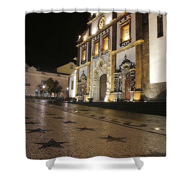 Church In Ponta Delgada Shower Curtain by Gaspar Avila