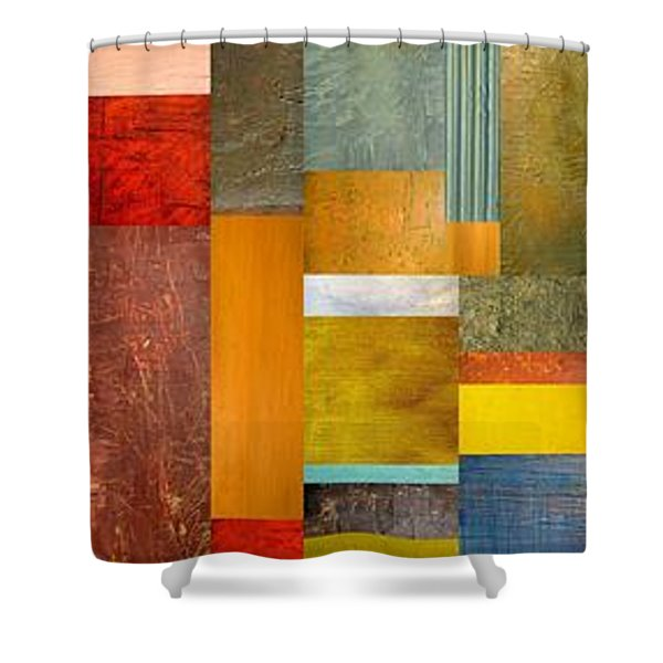 Color Panels with Blue Sky Shower Curtain by Michelle Calkins