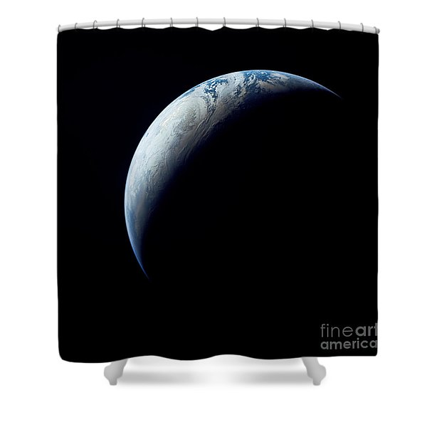 Crescent Earth Taken From The Apollo 4 Shower Curtain by Stocktrek Images