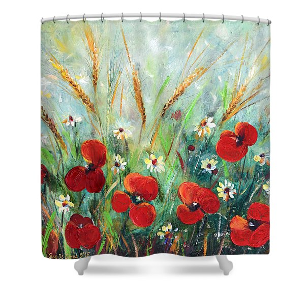 Shower Curtains - Field Flowers Shower Curtain by Gina De Gorna