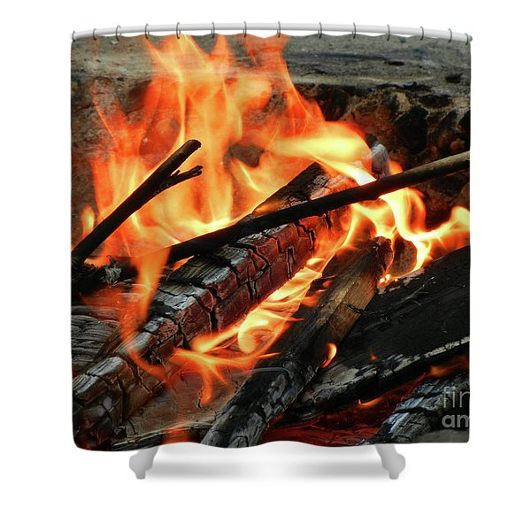 Fire at the Beach III Shower Curtain by Mariola Bitner